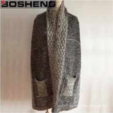 Grey Color Señora tejidos bolsillo invierno bufanda chales