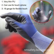 Nmsafety Super Fit Smart Phone Touch Screen PU Coated Hand Work Glove