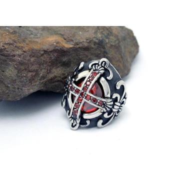 Brightness Rubies Cross Rings Titanium Steel Fashion Jewellery