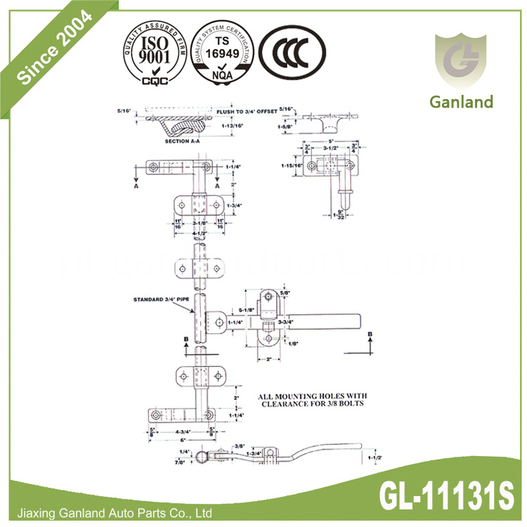 Stainless Steel Rear Door Lock GL-11131