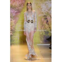 Haute Couture 2014 Frühlings-Hüllen-Hochzeits-Kleid-Juwel-Ansatz-bloßes langes Hülsen-Spitze-Applique-reizvolles Brautkleid NB059