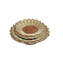 Hand Woven Round Rattan Bread Basket Light Brown For Superm
