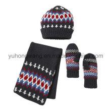 Ensemble acrylique chaud tricoté à l'hiver pour enfant
