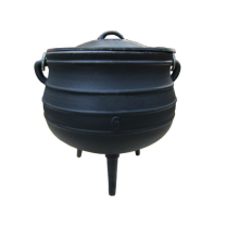 Wax Finished Camping Large Stock Cooking Pot/ 3 legs Potjie Cast iron Cauldron