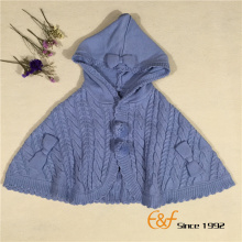 Plain Color Lovely A Shape Hooded Sweater Cardigan Poncho