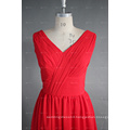 ED Bridal Real Photo V Neck A Line Chiffon Short Red Bridesmaid Dress