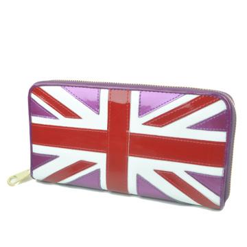 Union Jack-Portemonnaie für Frauen glänzende Pu Leder