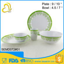 custom tableware round melamine plastic dinnerware set