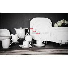P & T fábrica de porcelana placas profundas, pratos quadrados, pratos jantar restaurante, xícaras de café e pires