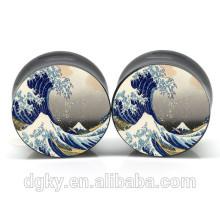 Sea wave pattern ear gauge body piercing tunnels dongguan jewelry