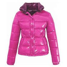 Глянцевый розовый PU женщин куртка вниз на зимы