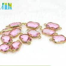 12pcs/bag Copper Connector Pendants with Crystal Glass Beads for DIY Jewelry Making Bracelet Earring 13x18mm CA002