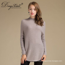 Custom 2017 Latest Designs Winter Ladies Plain Wool Knitted Fashionable Sweater