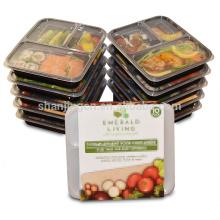 Caja de almuerzo plástica respetuosa del medio ambiente de la microonda, tapa a prueba de filtraciones del recipiente de la preparación de la comida de la tapa plana de 3 compartimientos