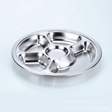 круглый поднос еды обеда сервировки серебра нержавеющей стали 3 секций для школьной столовой