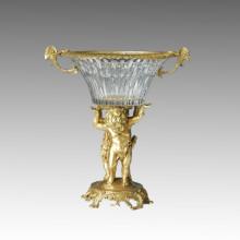 Vaso De Cristal Estátua Cupido Bronze Escultura Tpgp-001