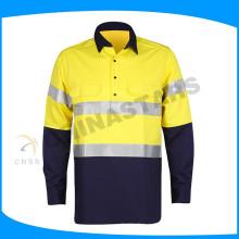 T-shirts de sécurité bleus en usine, chemises de sécurité en gros, chemises de travail réfléchie