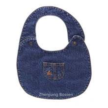 Werbeartikel nach Maß Denim wie weiches Baumwollgewebe besticktes Babylätzchen