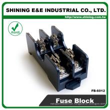 FB-6012 6x30mm Fuso de vidro 600V 15A Caixa de fusíveis montada em painel de 2 vias