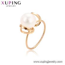 15341 xuping nuevo estilo best-seller joyería de perlas de agua dulce romántica, accesorios de anillo de dedo de lujo 18k lleno de oro para las mujeres