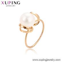 15341 xuping novo estilo best-seller romântico pérola de água doce jóias, fantasia 18k gold filled anel de dedo acessórios para as mulheres