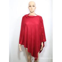 Lady Fashion Acrylic Knitted Button Shawl (YKY4405-1)