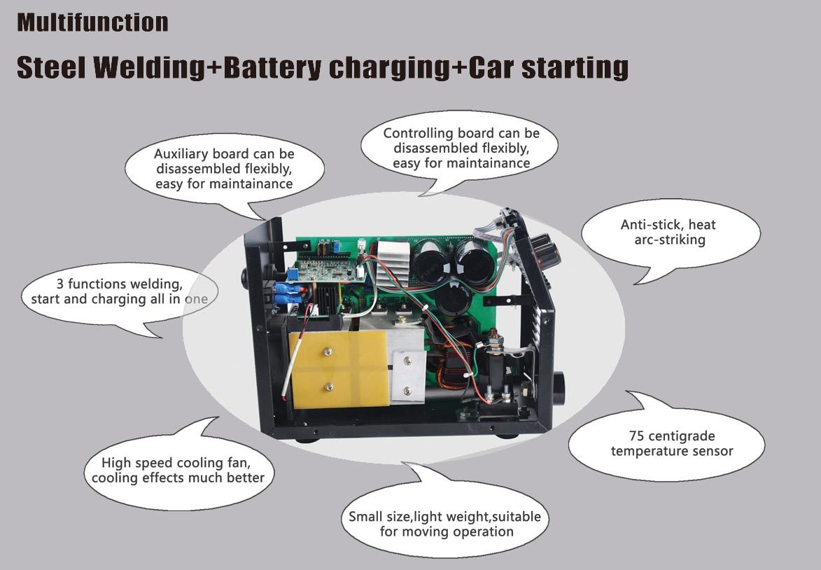 multifunctional machine with welding and car starting,battery charging