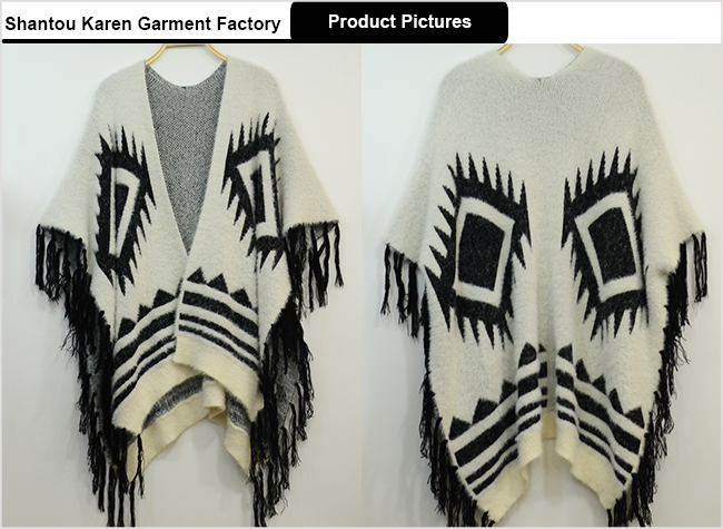 Women Special Design Fringe Fur Poncho Sweater