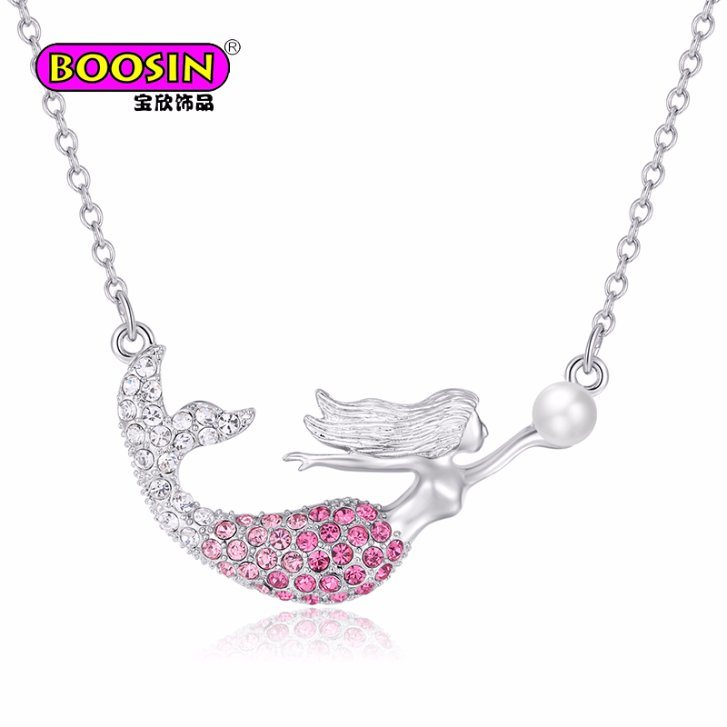 2018 New Product Hot Sale Mermaid Necklace Gold with Pearl & Rhinestone for Women