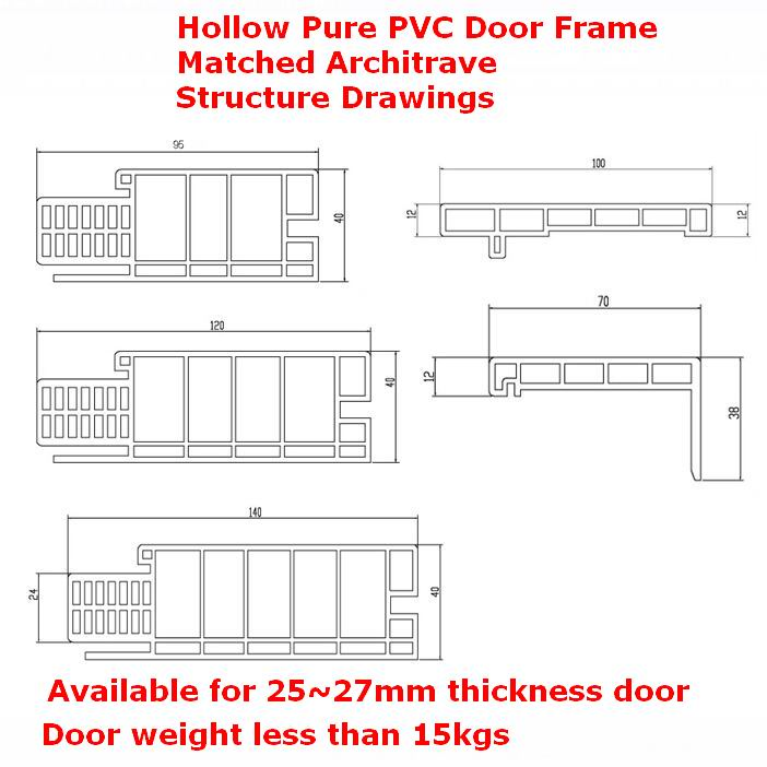 Pure PVC Door Frame Hollow Door Pocket Door Jamb Df-I95h40