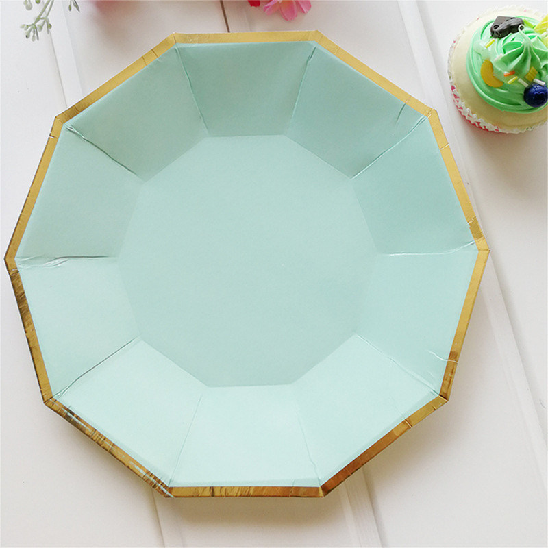 8PCS/Bag Gold Mint Green Disposable Tableware Party Paper Plates Cups Straw Birthday Party Xmas Festival Paper Napkins Tableware