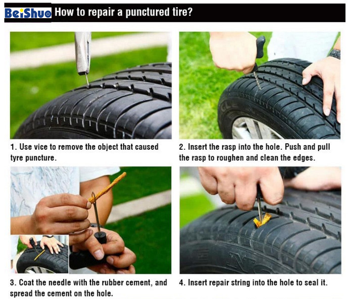 Motorcycle Car Tire Tyre Repair Kit with Rubber Cement