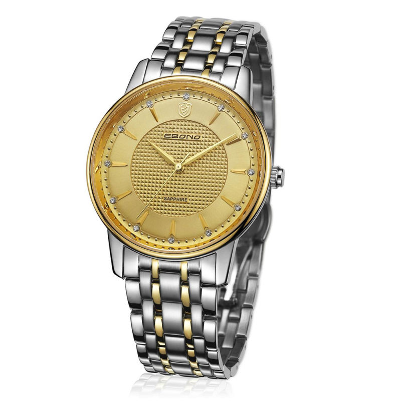 Diamond Stainless Steel Couple Wrist Watch