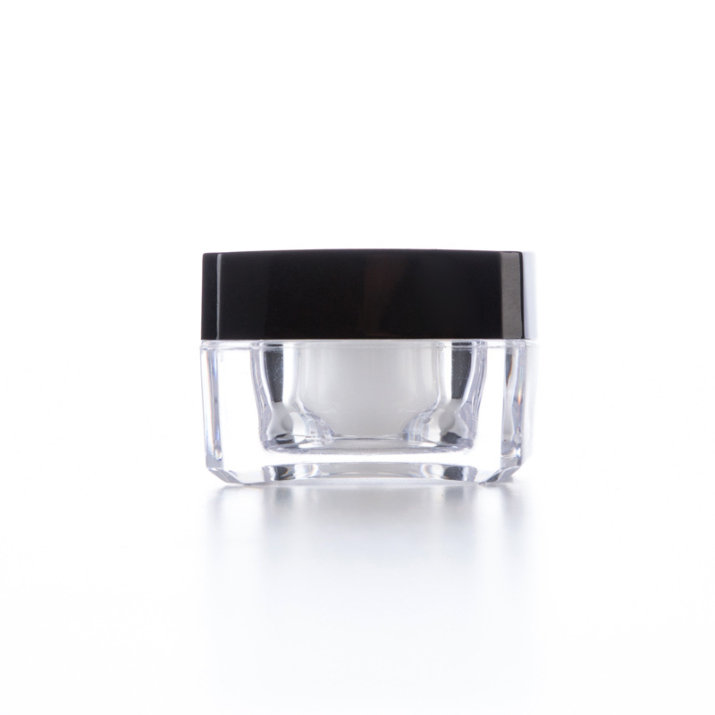 10g Square Acrylic Jar Double Wall Clear Jar Cosmetic Packaging