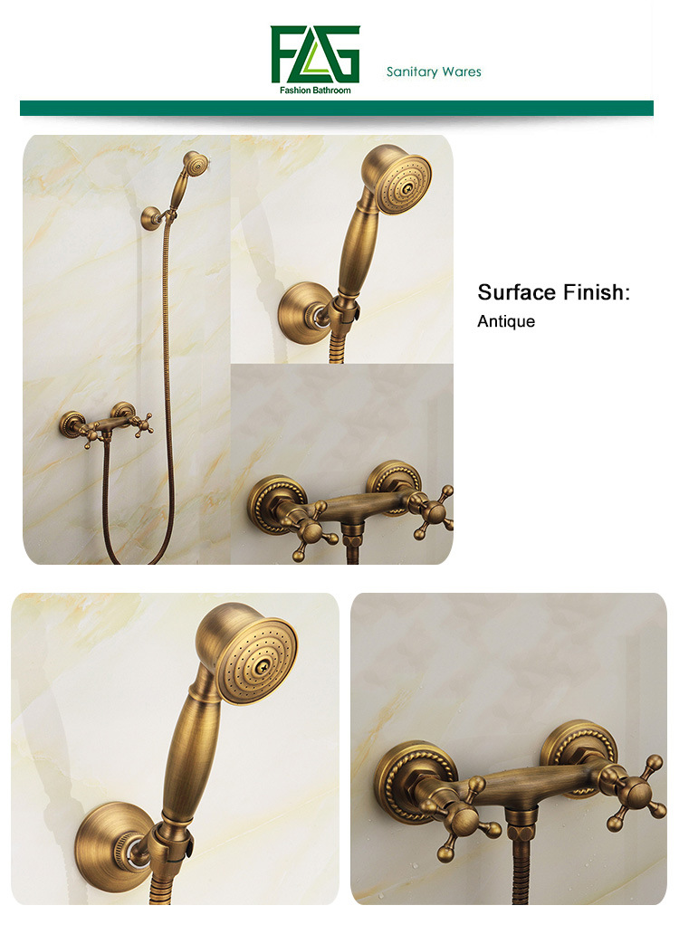 FLG Wall Mounted Antique Brass Shower Set with Mixer