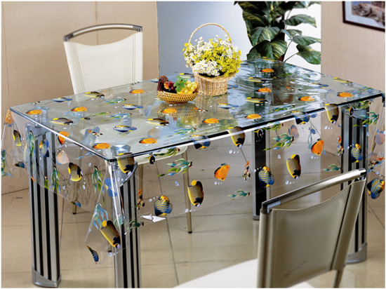 2016 Hot Sale high Quality PVC Printed Transparent Tablecloth