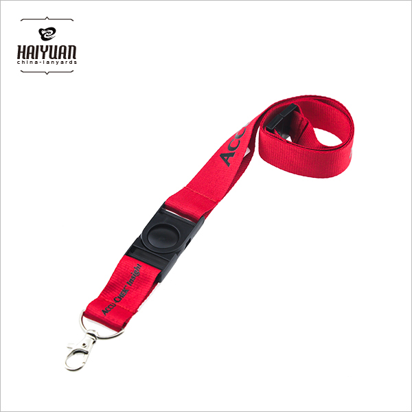 100%Polyester Printing Red Lanyard with Safety Breakaway Accessories