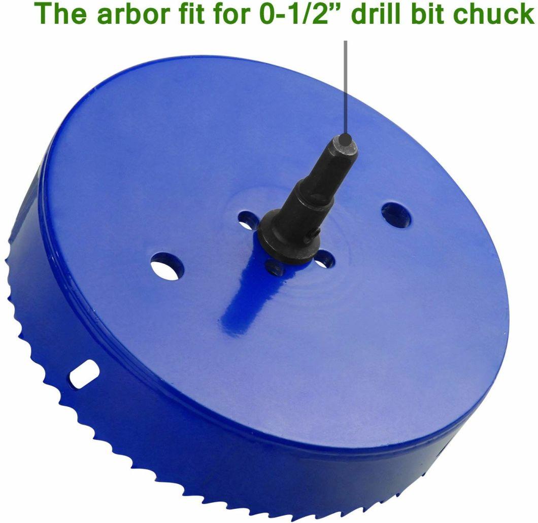 Sierra de agujero de 6 pulgadas para hacer tablas Cornhole Cortador de taladro de agujero de maíz de 152 mm Cuchilla de acero bimetálica resistente y adaptador de broca de vástago hexagonal