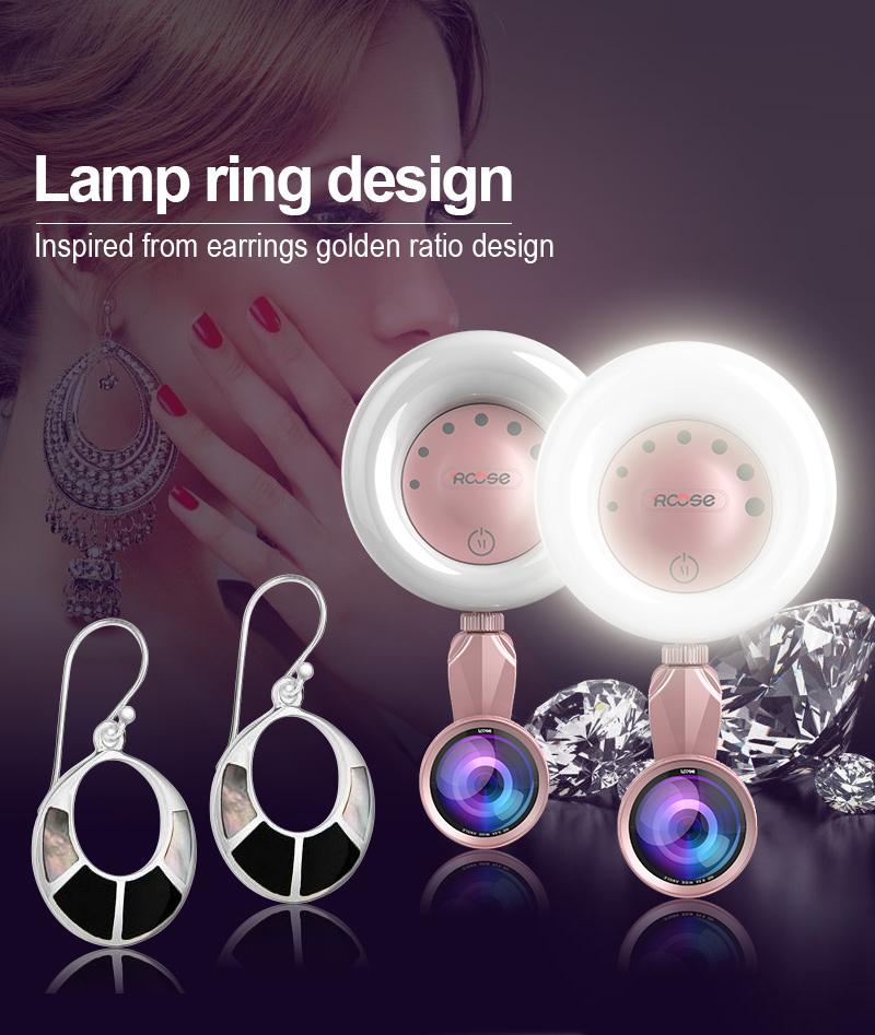 Rk32 LED Selfie Ring Flashlight for Multiple Photography Mini Selfie Sync