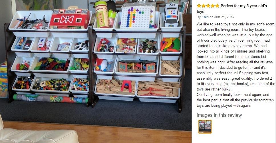 Wooden Toy Storage Box with 12 Plastic Bins