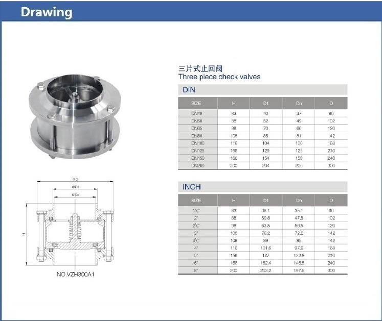 Sanitary Ss316L Welding Stainless Steel Three Piece Check Valve