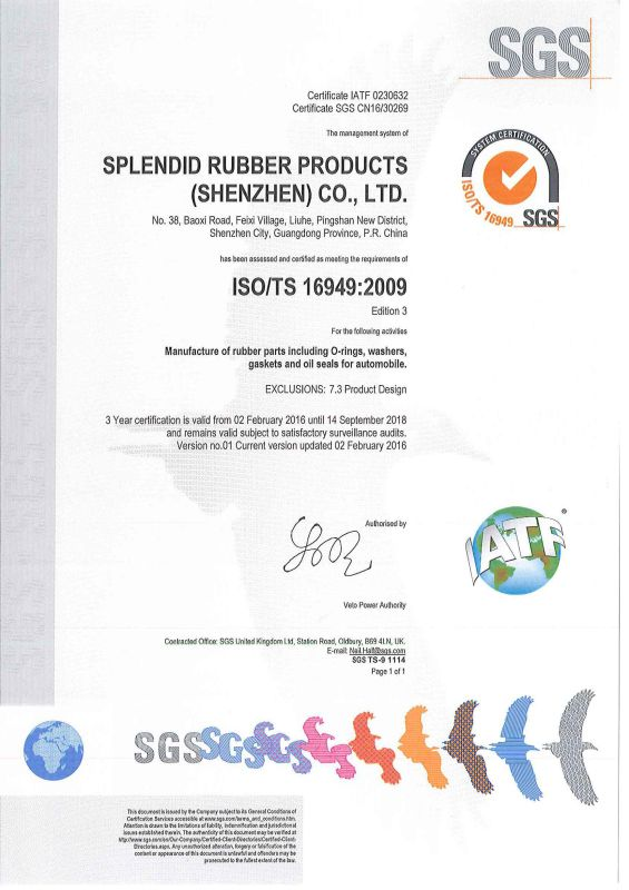 Elastomer Rubber Gaskets with UL Listed
