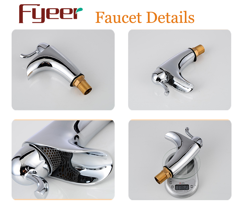 Fyeer Simple Chrome Plated Bathroom Wash Basin Brass Faucet Water Hot&Cold Mixer Tap
