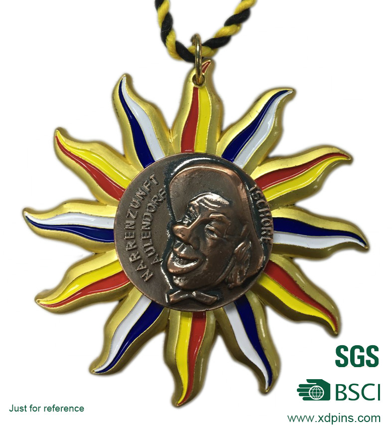Antique Copper Plated Soft Enamel School Sports Meeting Medal