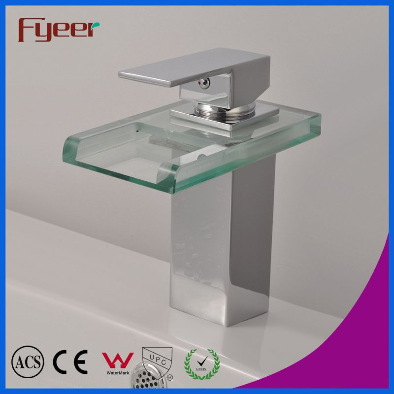 Fyeer Chrome Plated Square Glass Waterfall Spout Single Handle Brass Wash Basin Faucet Sink Water Mixer Tap Wasserhahn