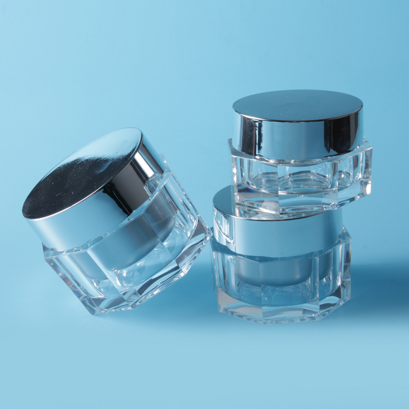 High Quality Clear Acrylic Cream Jar with Aluminum Cap