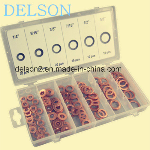 Flat Red Copper Washer Assortment Gasket 6size 110PCS Sealing Washer