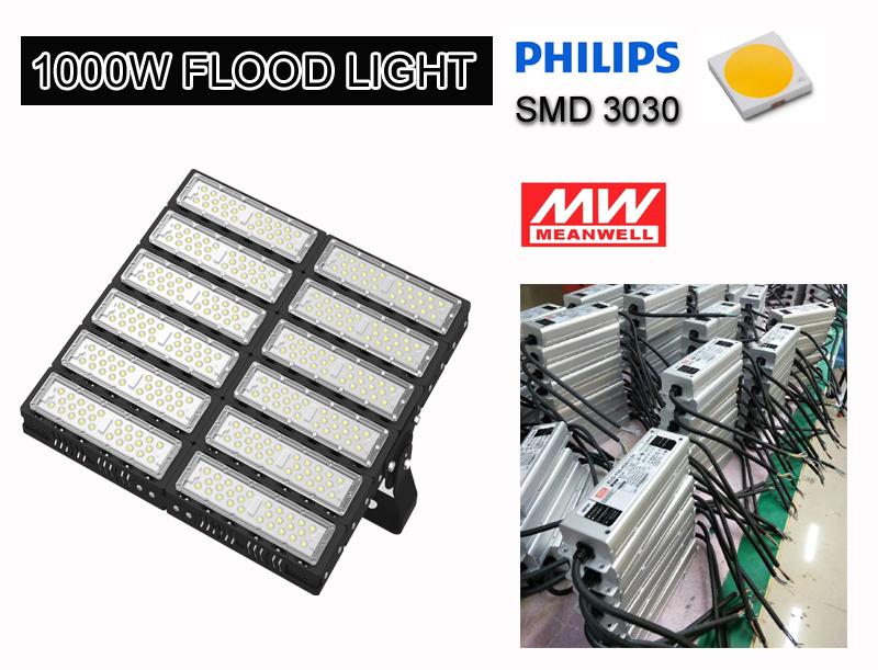 300W/400W/500W/600W/700W/800W/1000W/1200W IP65 Indoor Basketball Tennis Sports Court Field Lighting Tunnel Floodlight Fixture Outdoor LED Flood Light
