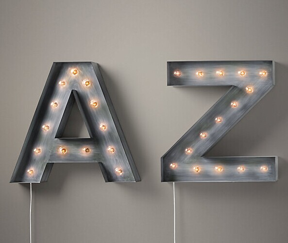 Antique Finish Shop Sign Letterts with Frontlit LED