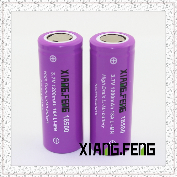 3.7V Xiangfeng 18500 1200mAh 18A Imr Rechargeable Lithium Battery 3.7V Lithium Battery